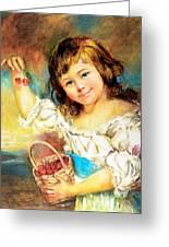 Cherry Basket Girl Greeting Card