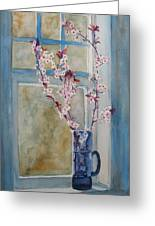 Cherry Blossoms In A Blue Pitcher Greeting Card