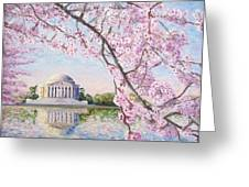 Jefferson Memorial Cherry Blossoms Greeting Card