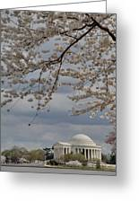 Cherry Blossoms With Jefferson Memorial - Washington Dc - 011313 Greeting Card