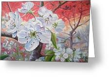 Cherry In Blossom Red Greeting Card