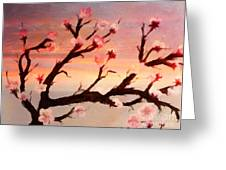 Cherry Tree Expresssive Brushstrokes Greeting Card