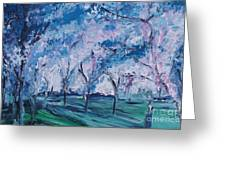Cherry Trees Impressionism Greeting Card
