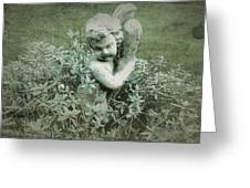 Cherub Statue In The Garden Greeting Card