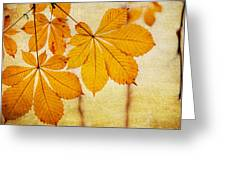 Chestnut Leaves At Autumn Greeting Card