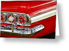 Chevrolet Impala Classic Rear View Greeting Card