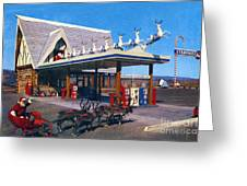 Chevron Gas Station At Santa's Village With Reindeer And Carl Hansen Greeting Card