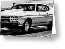 Chevy Chevrolet Chevelle Ss Burning Rubber Greeting Card