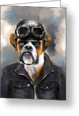 Chic Boxer Aviator Greeting Card by Jai Johnson
