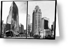 Chicago 333 And The Tower 2 Panel Bw Greeting Card