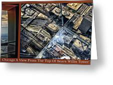 Chicago A View From The Top Of Sears Willis Tower Hdr Triptych 3 Panel Greeting Card
