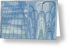Chicago Abstract Before And After Blue Glass 2 Panel Greeting Card