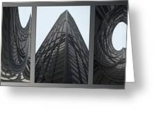 Chicago Abstract Before And After John Hancock Sw Facades Triptych 3 Panel Greeting Card