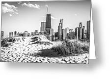Chicago Beach And Skyline Black And White Photo Greeting Card