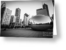 Chicago Bean And Chicago Skyline In Black And White Greeting Card