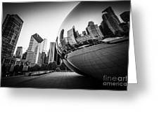 Chicago Bean Cloud Gate In Black And White Greeting Card by Paul Velgos