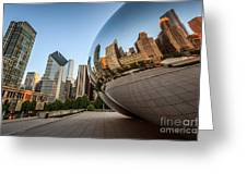 Chicago Bean Cloud Gate Sculpture Reflection Greeting Card