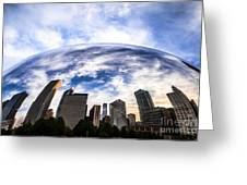 Chicago Bean Cloud Gate Skyline Greeting Card by Paul Velgos