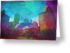 Chicago Bean Skyline Illinois Digital Paint Greeting Card