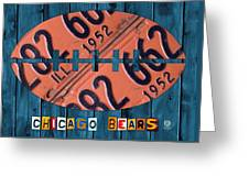 Chicago Bears Football Recycled License Plate Art Greeting Card