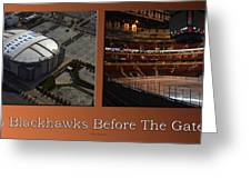 Chicago Blackhawks Before The Gates Open Interior 2 Panel Tan Greeting Card