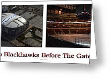 Chicago Blackhawks Before The Gates Open Interior 2 Panel White 01 Greeting Card