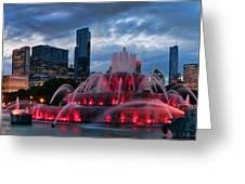 Chicago Blackhawks Skyline Greeting Card by Jeff Lewis