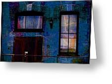 Chicago Brick Facade Night Moves Greeting Card