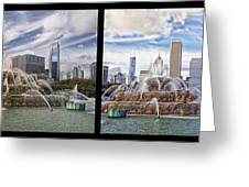 Chicago Buckingham Fountain 2 Panel Looking West And North Black Greeting Card