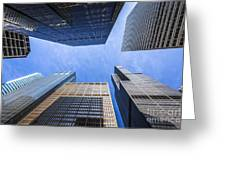 Chicago Buildings Upward View With Willis-sears Tower Greeting Card by Paul Velgos