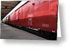 Chicago Burlington Quincy Freight Cars Greeting Card