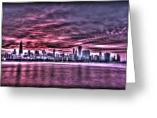 Chicago By Night Greeting Card