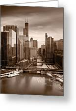 Chicago City View Afternoon B And W Greeting Card