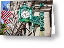 Chicago Clock On Macy's Marshall Field's Building Greeting Card