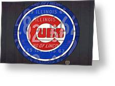 Chicago Cubs Baseball Team Retro Vintage Logo License Plate Art Greeting Card by Design Turnpike
