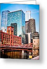Chicago Downtown At Lasalle Street Bridge Greeting Card
