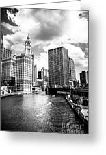 Chicago Downtown At Michigan Avenue Bridge Picture Greeting Card