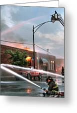 Chicago Firemen At Work Greeting Card