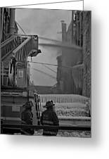 Chicago Firemen Looking On Greeting Card