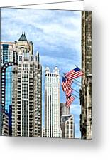 Chicago - Flags Along Michigan Avenue Greeting Card