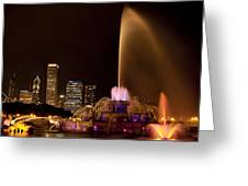 Chicago Fountain At Night Greeting Card