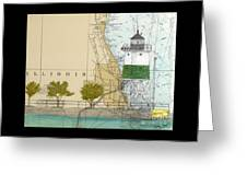 Chicago Harbor Se Guidewall Lighthouse Il Nautical Chart Art Greeting Card