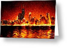 Chicago Hell Digital Painting Greeting Card