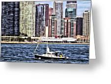 Chicago Il - Sailing On Lake Michigan Greeting Card