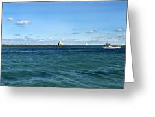 Chicago Illinois Harbor Lighthouse And Little Lady Tour Boat Usa Greeting Card
