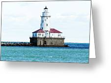 Chicago Illinois Harbor Lighthouse Close Up Usa Greeting Card
