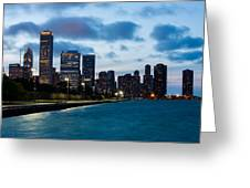 Chicago Lake Front At Blue Hour Greeting Card