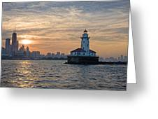 Chicago Lighthouse And Skyline Greeting Card