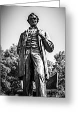 Chicago Lincoln Standing Statue In Black And White Greeting Card by Paul Velgos