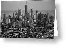 Chicago Looking East 01 Black And White Greeting Card